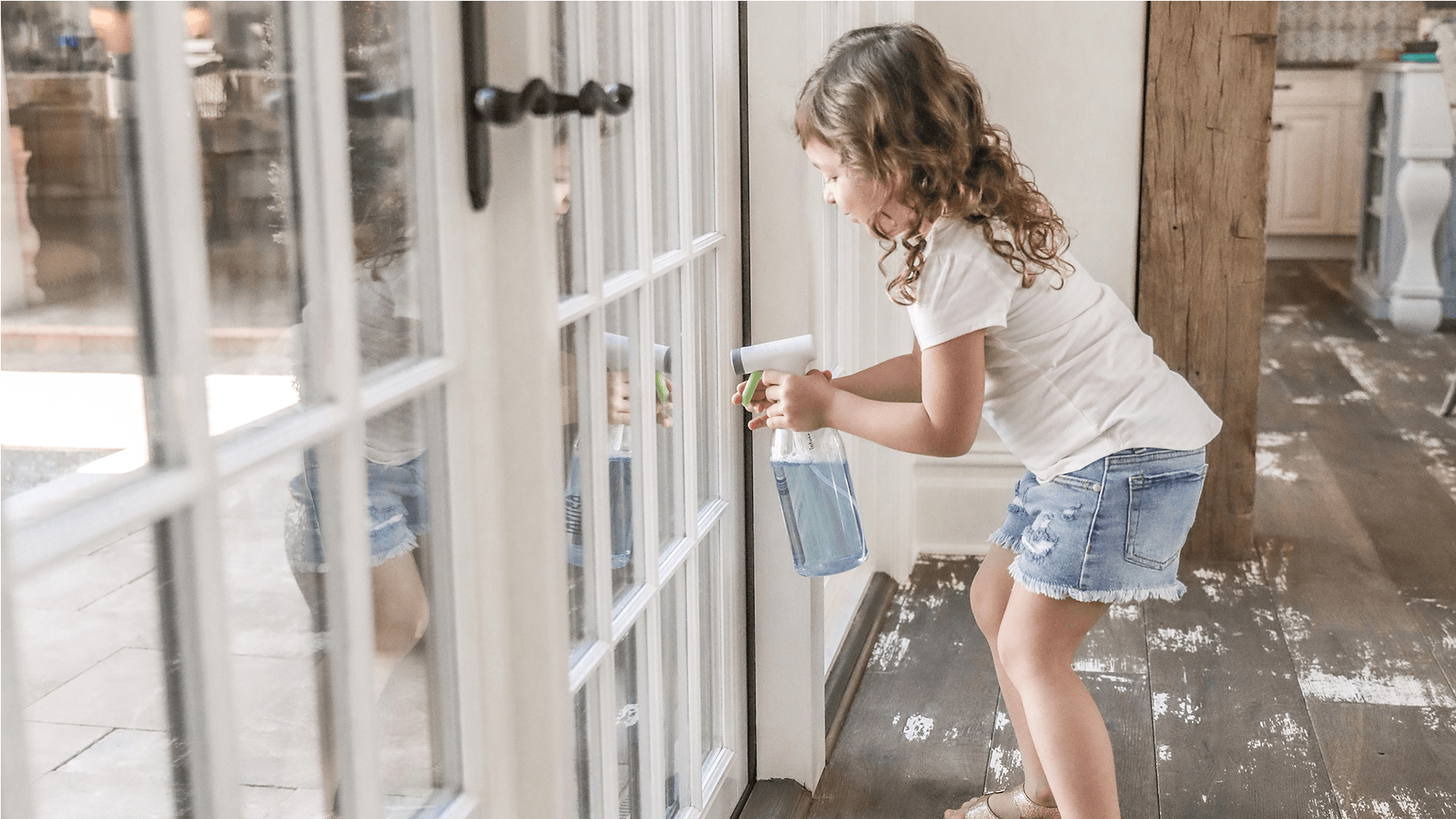 Kids help clean with Infuse Clean by Casabella